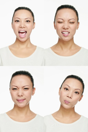 Montage of woman pulling different expressions photo