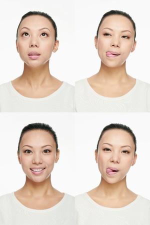 Montaje de la mujer tirando de diferentes expresiones