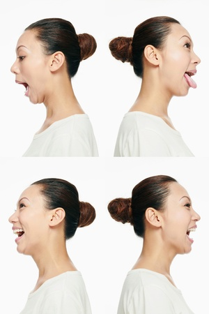 Montage of woman pulling different expressions Stock Photo - 13149258