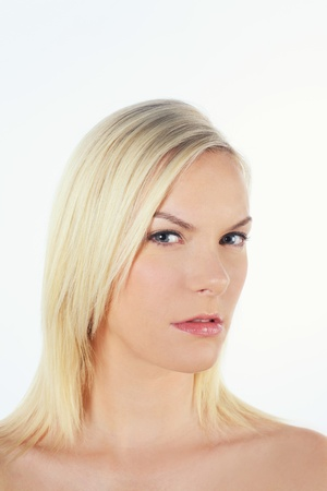 british ethnicity: Woman staring at the camera Stock Photo