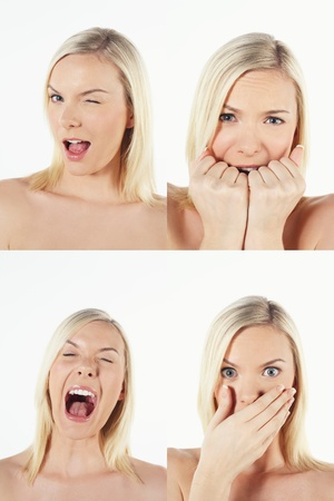 Montage of woman pulling different expressions Stock Photo - 13149253