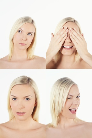 Montage of woman pulling different expressions Stock Photo - 13149196