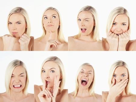 boca cerrada: Montaje de la mujer tirando de diferentes expresiones