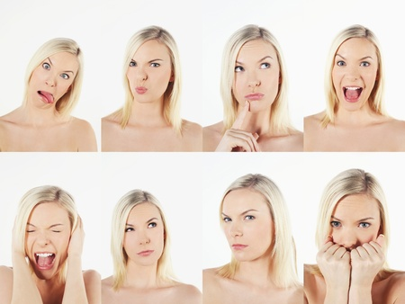 Montage of woman pulling different expressions Stock Photo - 13149266