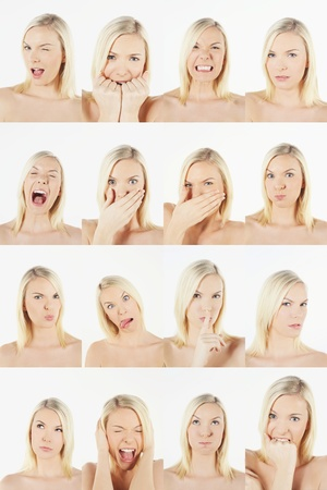 Montage of woman pulling different expressions Stock Photo - 13149264