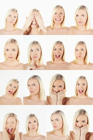 mouth closed: Montage of woman pulling different expressions
