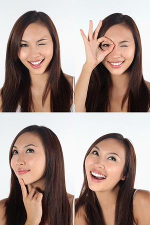 mischief: Montage of woman pulling different expressions