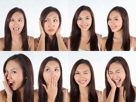 lachendes gesicht: Montage von Frau zieht verschiedene Ausdr�cke Lizenzfreie Bilder