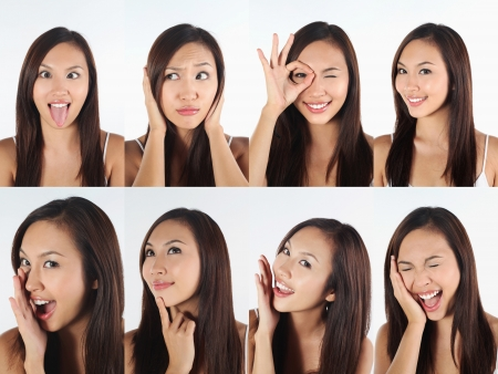 Montage of woman pulling different expressions Stock Photo - 13148964