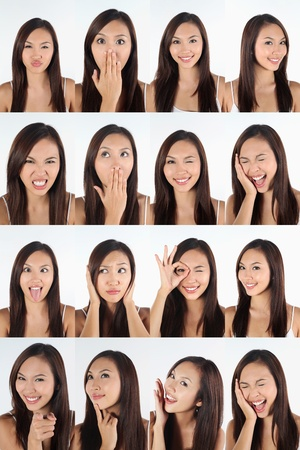 Montage of woman pulling different expressions Stock Photo - 13149007