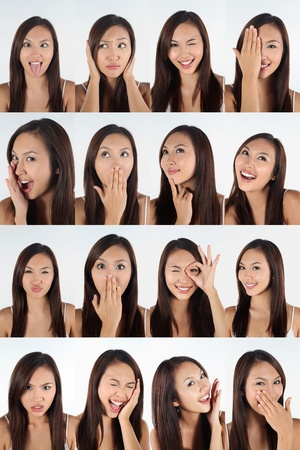 Montage of woman pulling different expressions Stock Photo - 13149004
