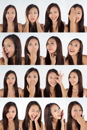 molesto: Montaje de la mujer tirando de diferentes expresiones