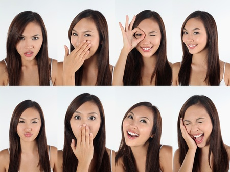 Montage of woman pulling different expressions Stock Photo - 13148962