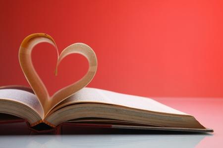 책의 페이지에서 형성 심장 모양