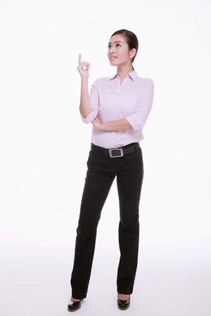 Businesswoman looking for an idea Stock Photo - 13341521