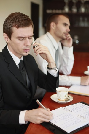 scandinavian descent: Businessman writing on organizer while talking on the phone