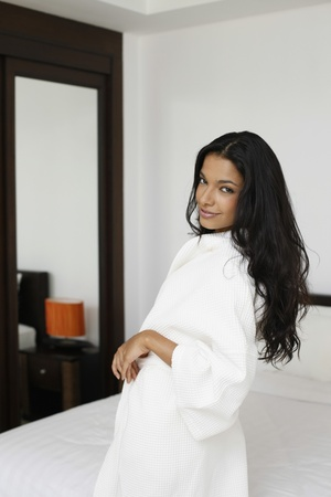 Woman in bathrobe photo