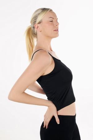 emotional pain: Mujer con dolor de espalda