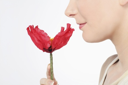 Woman holding flower photo
