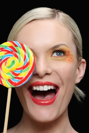 Woman with lollipop photo