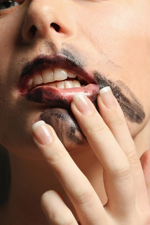 Woman with smudged lipstick photo
