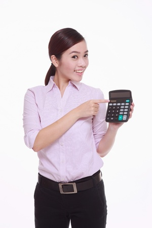 Businesswoman pointing at calculator photo