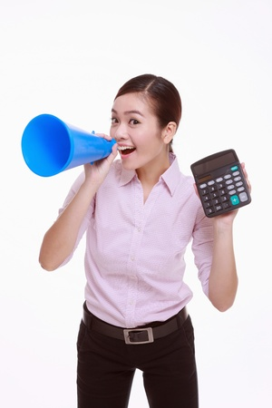 calculator chinese: Businesswoman shouting through a megaphone and showing a calculator