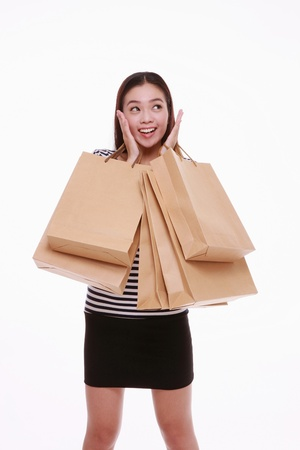 Woman with a lot of shopping bags Stock Photo - 13374535