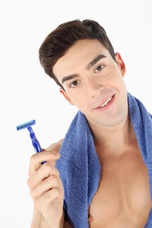 Man holding razor photo