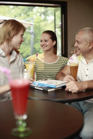Men and woman hanging out in the bar Stock Photo - 13482488
