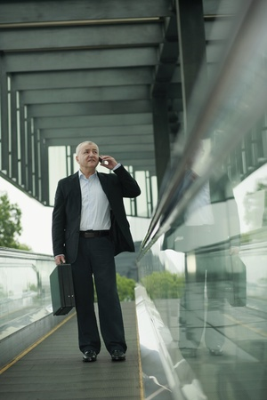 business briefcase: Businessman on escalator, talking on the phone Stock Photo