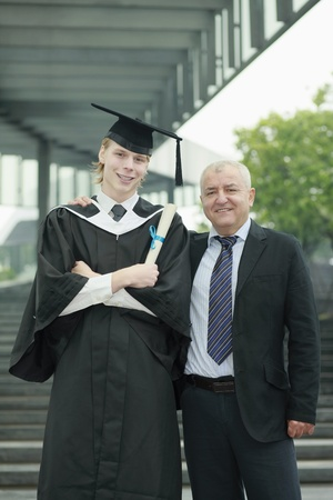 Father and graduate son photo