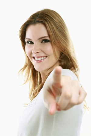 Woman pointing with index finger Stock Photo - 13384180