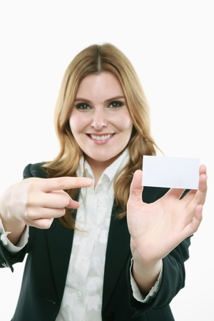 Businesswoman showing a business card Stock Photo - 13383962