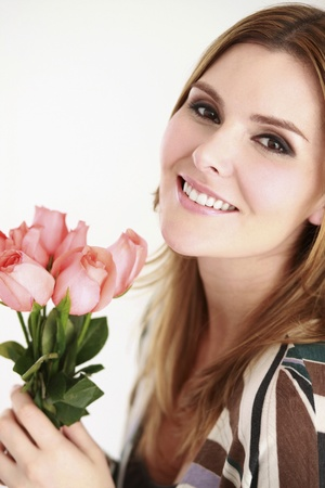 Woman holding roses Stock Photo - 13384205