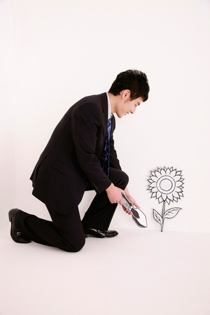 kneeling man: Businessman with trowel kneeling beside plant Stock Photo