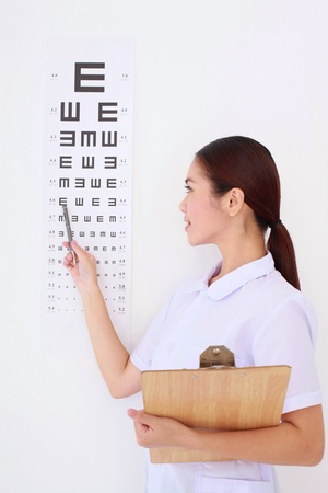 Optometrist pointing at eye chart photo