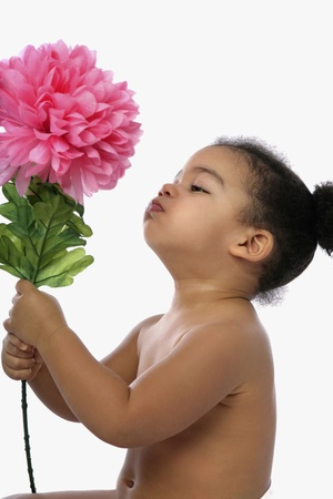 Girl with big flower photo