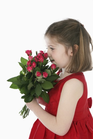 romance image: Girl with flowers Stock Photo