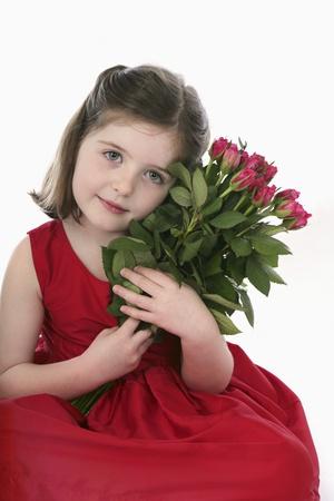 Girl with flowers 版權商用圖片