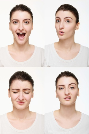 Montage of woman with different facial expression Stock Photo - 14658638