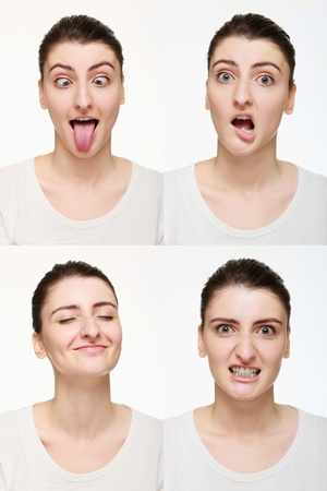 Montage of woman with different facial expression Stock Photo - 14658640