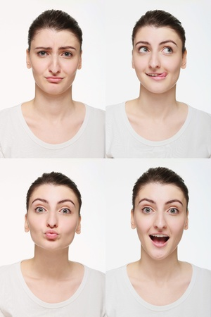 Montage of woman with different facial expression Stock Photo - 14658637