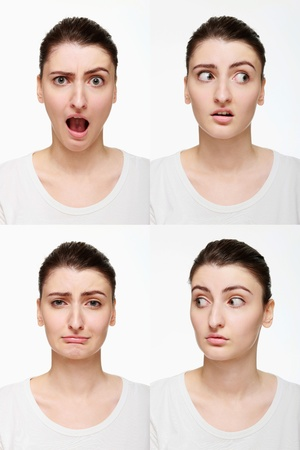 Montage of woman with different facial expression Stock Photo - 14658639