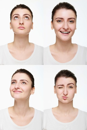 puffed cheeks: Montage of woman with different facial expression Stock Photo