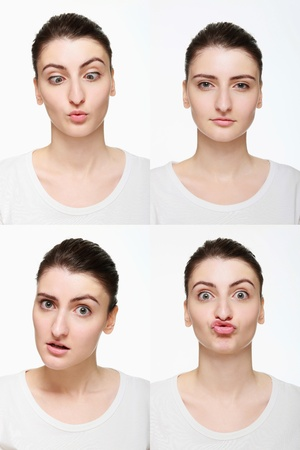 Montage of woman with different facial expression Stock Photo