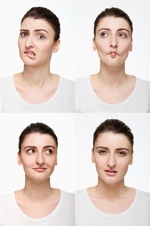 Montage of woman with different facial expression Stock Photo - 14658636