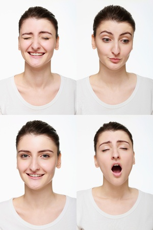 Montage of woman with different facial expression Stock Photo - 14658632