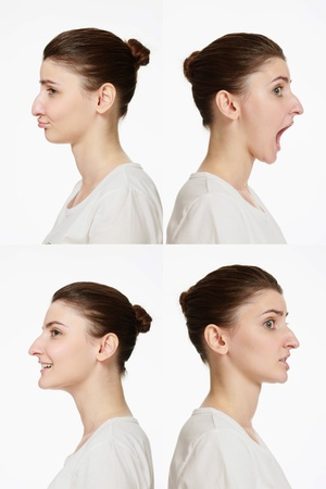 Montage of woman with different facial expression Stock Photo - 14658629
