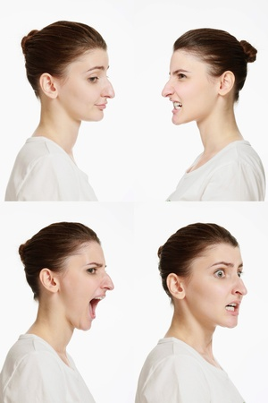 clenching teeth: Montage of woman with different facial expression Stock Photo